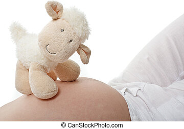 Expectant mother with teddy - Expectant mother with a cute...
