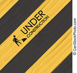 Under construction line over yellow and black background...