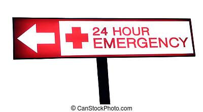 Hospital sign 24 hour emergency - Hospital emergency red...