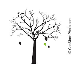 Tree over white background - tree with falling leaves over...