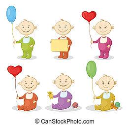 crianças, caricatura, brinquedos