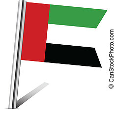 United Arab Emirates flag map pin on white