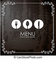 Cutlery icons over black background vector illustration