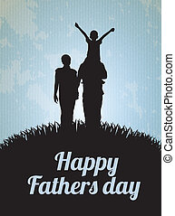 Happy Fathers day card with family vector illustration