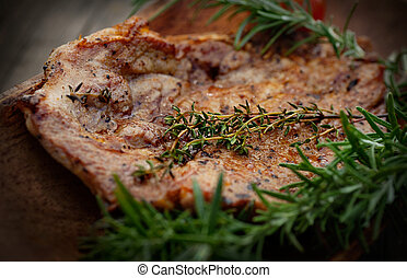 Barbecue - Grilled PorkSteak BBQ with herbs. Barbecue Meat...