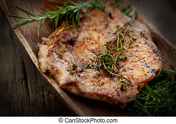 Barbecue - Grilled PorkSteak BBQ with herbs Barbecue Meat...