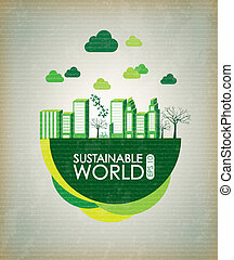 Sustainable world over vintage background vector...