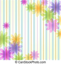 Stripe floral background with copy space. Transparency,...