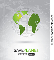 Save Planet over vintage background vector illustration