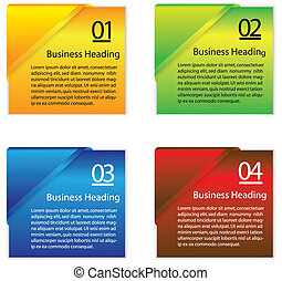 Vector graphic of colorful blank or empty paper info cards -...
