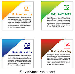 3D vector illustration of colorful blank or empty info cards...