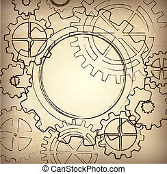 Vintage gears over brown background vector illustration