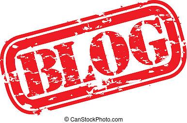 Grunge blog rubber stamp, vector illustration