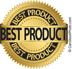 Best product golden label, vector illustration