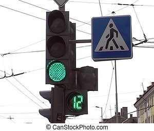 traffic light at the intersection in the city