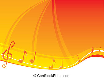 Music background - Music notes at bright orange background