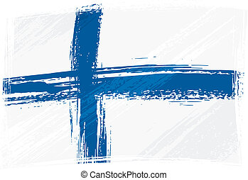 Grunge Finland flag - Finland national flag created in...