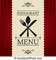 restaurant menu over red background. vector illustration