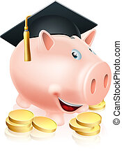 Graduation Piggy bank - Cartoon education piggy bank with...