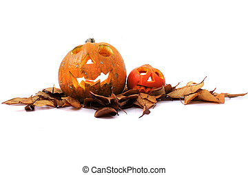 Halloween pumkins on the white background - Halloween...