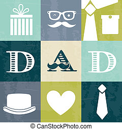 fathers day card, retro style. vector illustration