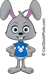 Cartoon Rabbit - Hands On Hips - Cartoon Rabbit illustration...