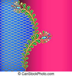 background with peacock feather jewelery and net -...