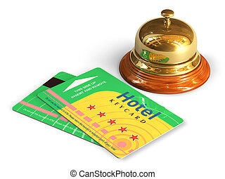 Reception bell and hotel cardkeys - Travel and tourism...