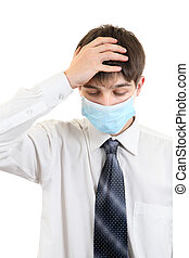 Sad Young Man in Flu Mask - Sick Young Man in Flu Mask...