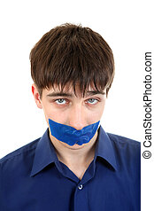 Young Man with Sealed Mouth - Sad Young Man with sealed...