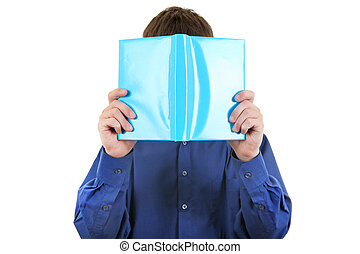 Person hide his Face behind a Book - The person hides the...