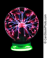 magic ball - Plasma ball souvenir on green stand isolated on...