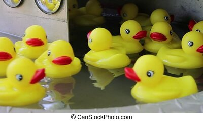 Rubber Duckies Floating in Water - Yellow Rubber Ducky Toys...