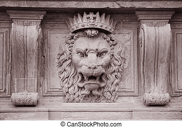 Lion Head on the Facade of Pitti Palace Museum, Florence,...