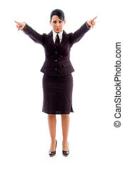 young businesswoman pointing with both hands