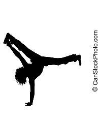 man exercising gymnastics on white background