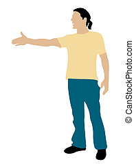 standing cool man shaking hand position on isolated...