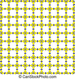 Black Yellow Blue abstract decorative shapes