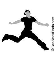 handsom man jumping in air