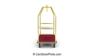 Luggage cart rotates on white background