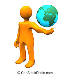 Manikin Globe - Orange cartoon character with globe on the...