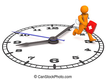 Doctor Clock - Orange cartoon character as doctor runs on...