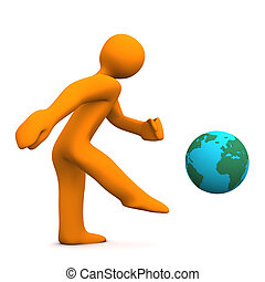 Kick The Planet - Orange cartoon character kicks the globe...