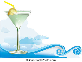 Green alcohol cocktail with waves cloudsMesh used