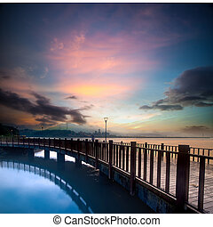 beautiful sunset with a bridge over for adv or others...