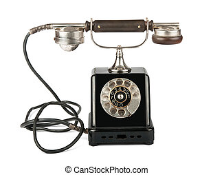 Old telephone - Old phone on white background