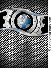 Metal Background with Grid, Gear and Globe