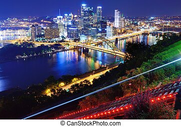 Pittsburgh Cityscape - Light trails from the Pittsburgh,...
