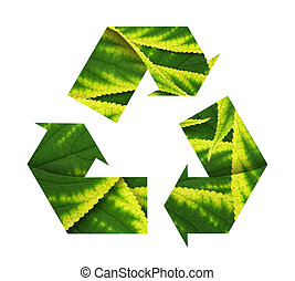 Conceptual recycling sign with images of leave, isolated on white.