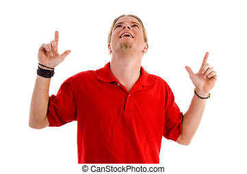 happy male pointing with both hands